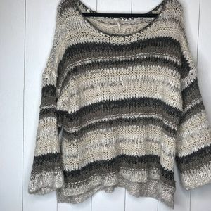 Free People Crotchet Knit Neutral Striped Sweater!